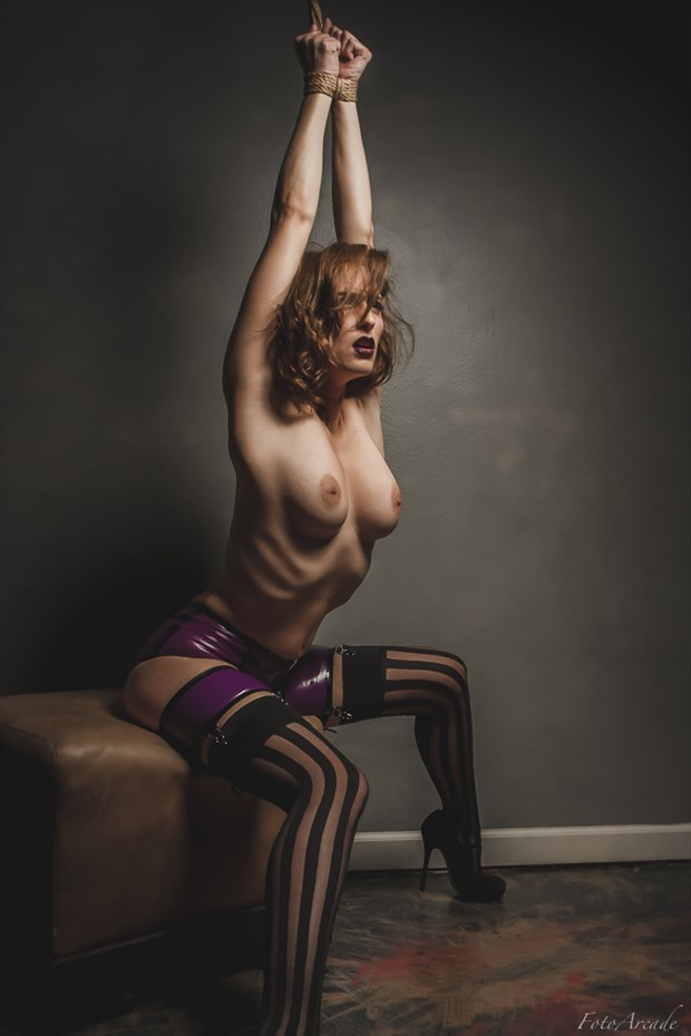 striped stockings Erotic Photo by Photographer FotoArcade