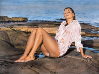 sunset girl painting bikini artwork by artist johannes wessmark