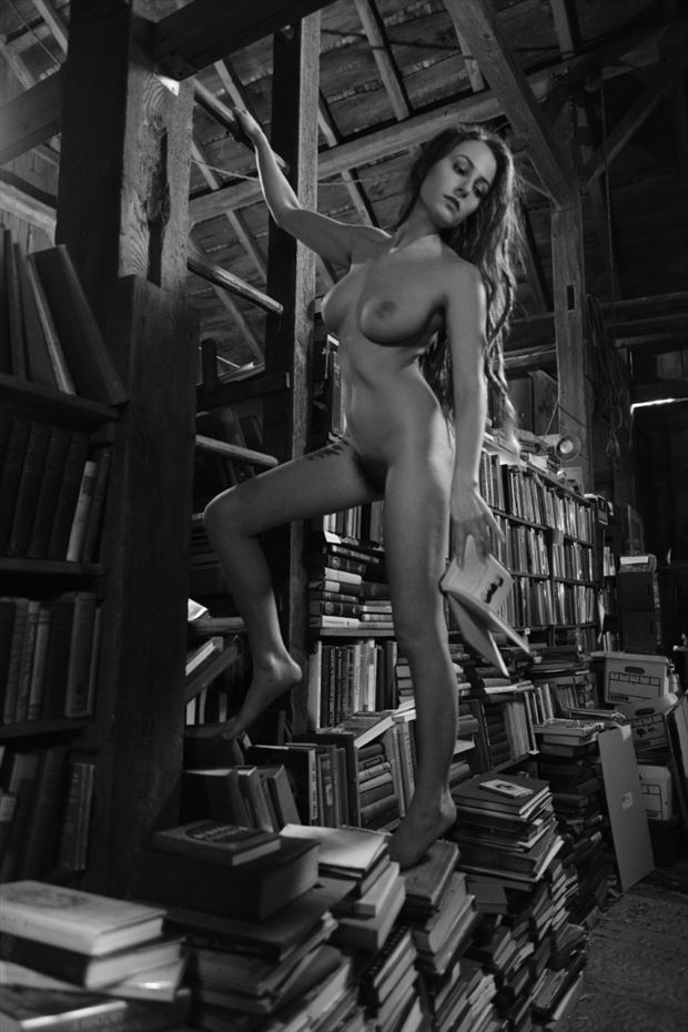 the book store project artistic nude photo by model louise rosealma