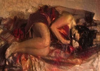 the crimson sleep chiaroscuro artwork by artist van evan fuller