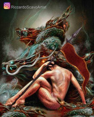 the eternal fight artistic nude artwork by artist riccardo scavo