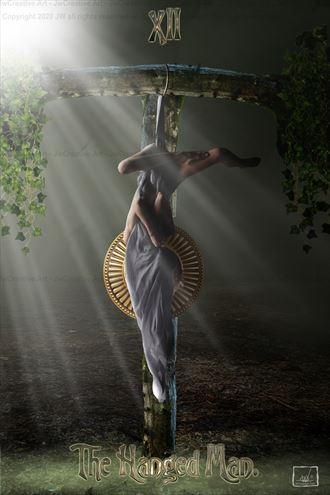 the hanged man tarot card lingerie photo by artist jw creative art