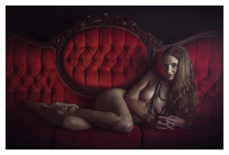 the red couch artistic nude photo by model suneadura