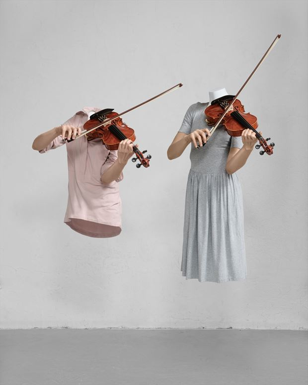 the violinist surreal photo by artist mike nekim