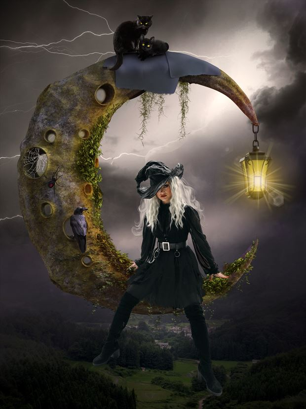 the witch in the moon fantasy artwork by artist karinclaessonart
