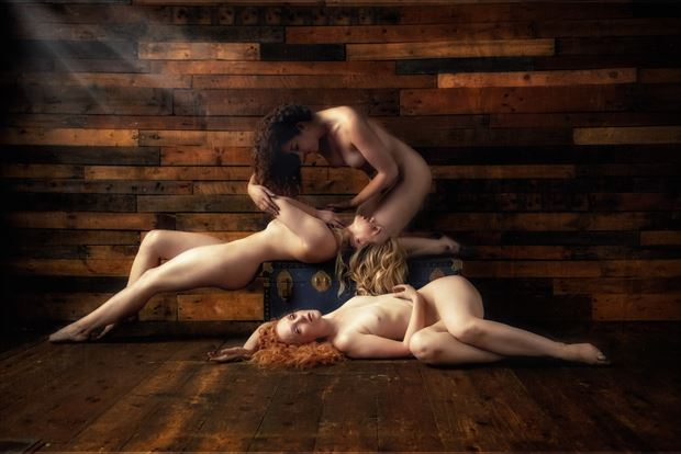 three ladies relaxing artistic nude artwork by photographer neilh