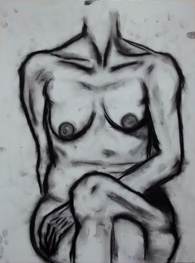 torso in charcoal artistic nude artwork by artist %C3%A1n%C3%A1r gr%C3%A1f%C3%ADk