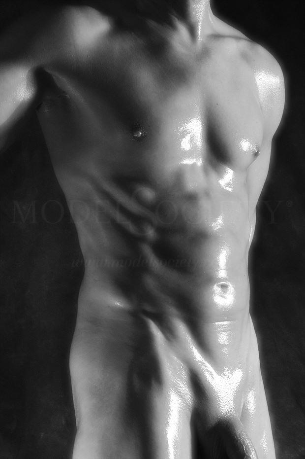 torso sheen artistic nude photo by model avid light