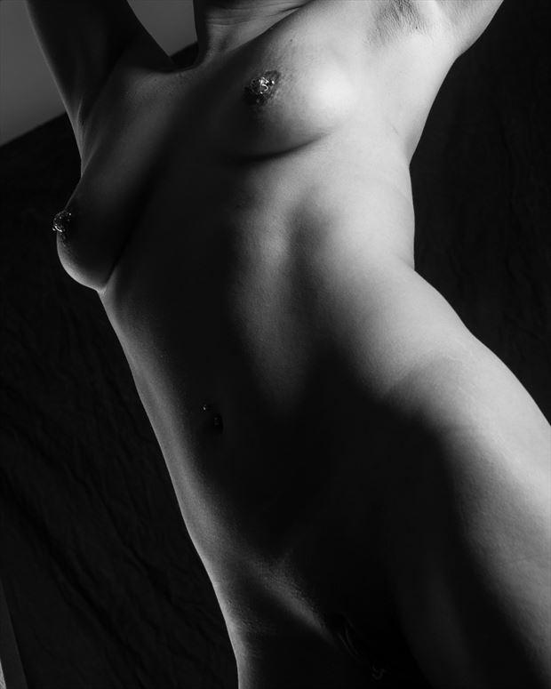torso with piercings artistic nude photo by photographer roberts
