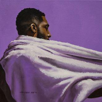 towel series lavender figure study artwork by artist dan simoneau artist