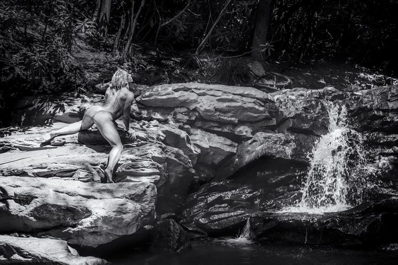 warshipping the waterfall artistic nude photo by photographer james w