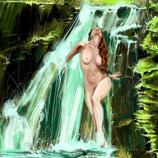 waterfall muse nature artwork by artist nick kozis