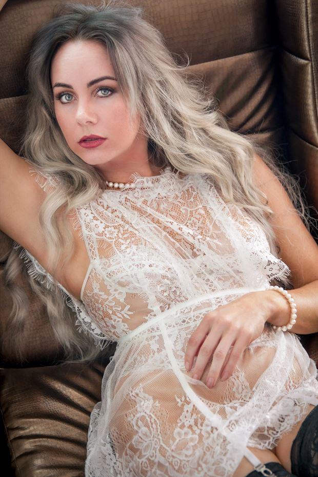 white beauty lingerie photo by model alexandra queen