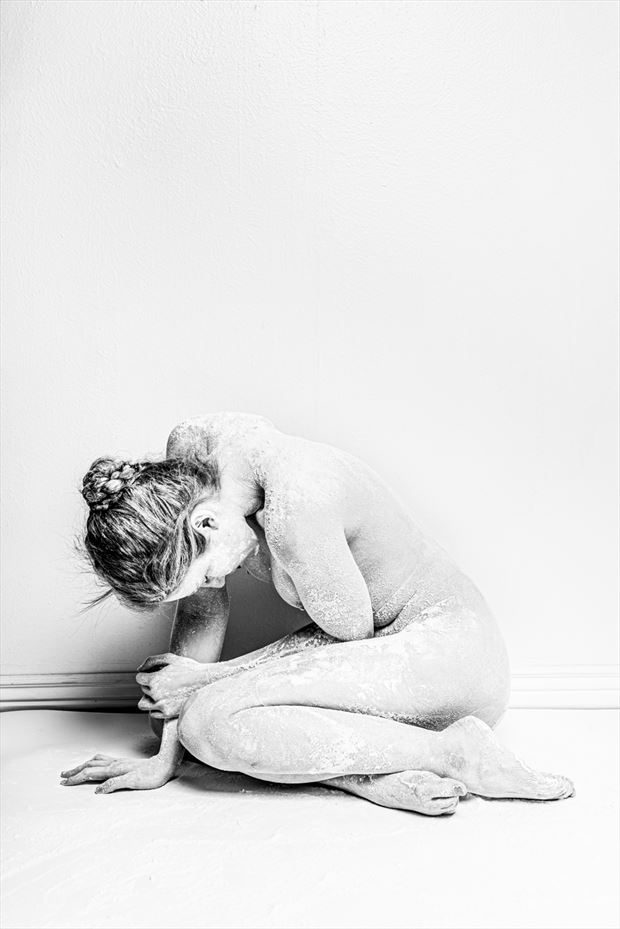 white on white artistic nude photo by model ahna green