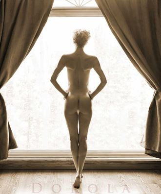 whitney in my front window artistic nude photo by model dorola visual artist