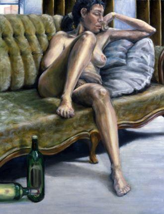 woman on green sofa artistic nude artwork by photographer john mark clum