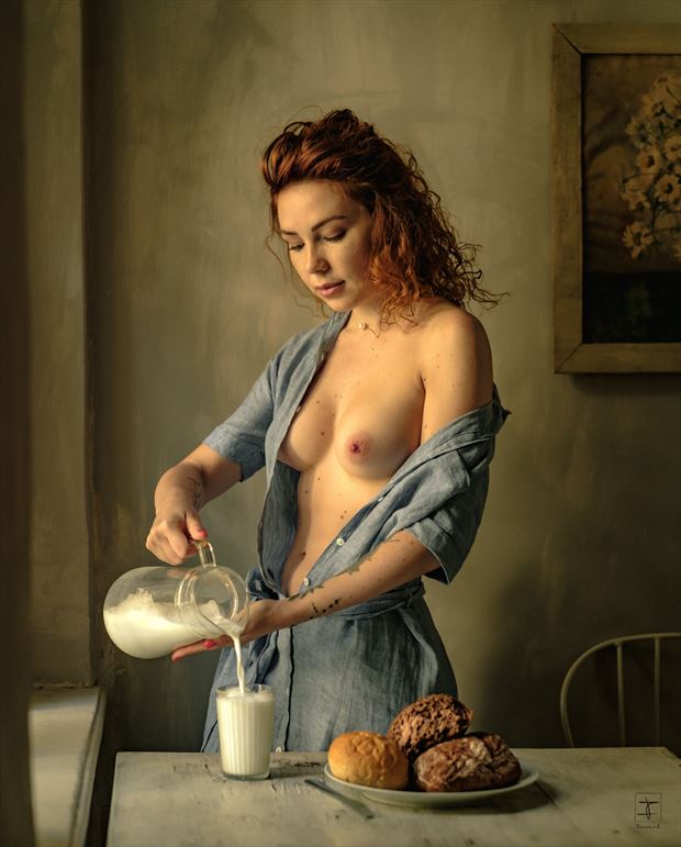 woman with milk and bread artistic nude photo by photographer imar