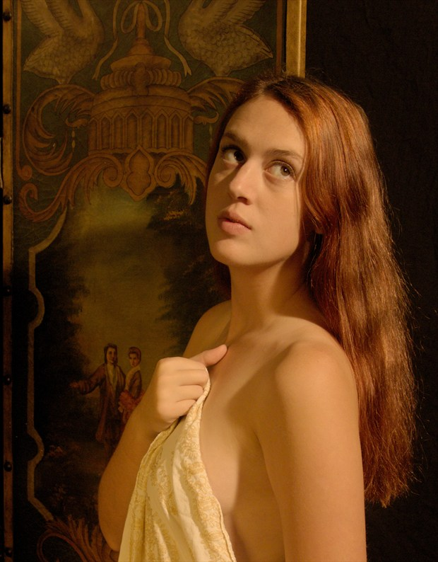 young woman's portrait, draped Implied Nude Photo by Photographer Fred Scholpp Photo
