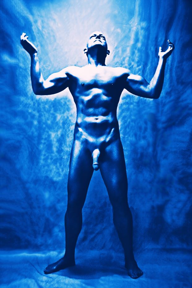 100 electric blues 9 artistic nude photo print by model avid light