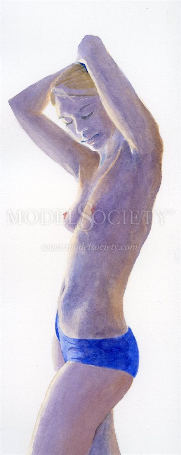 2012, Watercolor Artistic Nude Artwork print by Artist aquarellist