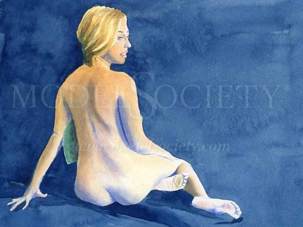 2014, Watercolor Artistic Nude Artwork print by Artist aquarellist