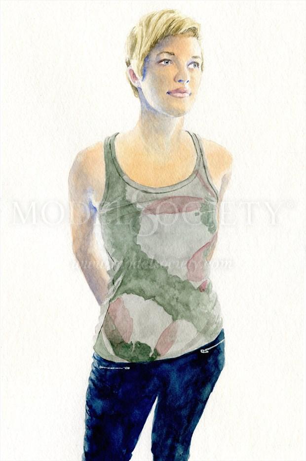2014, Watercolor Figure Study Artwork print by Artist aquarellist