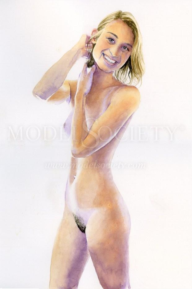 2015, Watercolor Artistic Nude Artwork print by Artist aquarellist