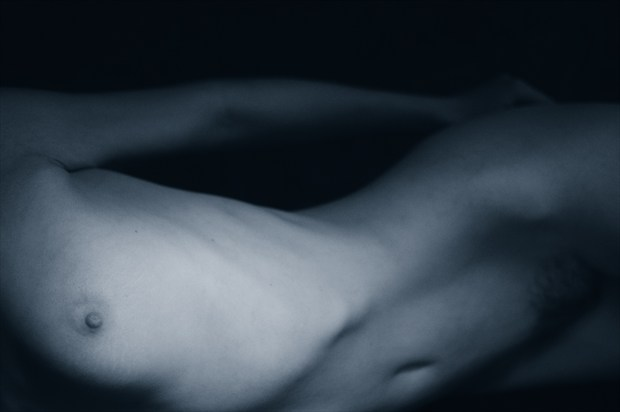 Art model P, Session 1, Number 11 Blue Artistic Nude Photo print by Photographer Mark Bigelow