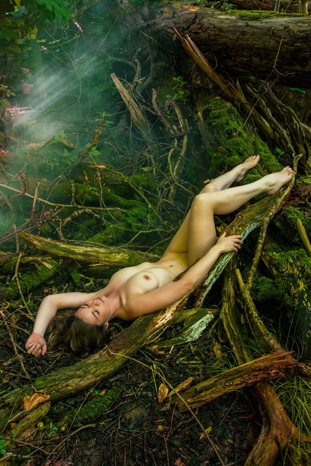 Aurora Skye on Rotting Wood Artistic Nude Photo print by Photographer Ian Cartwright