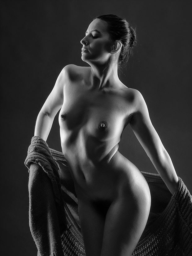 Between the Lights Artistic Nude Photo print by Photographer rick jolson