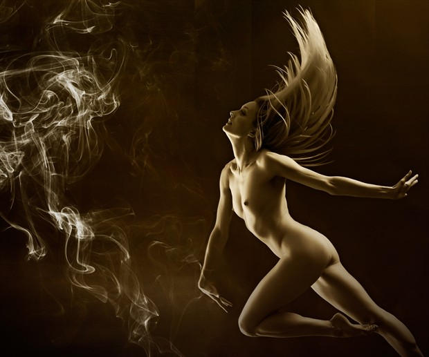 Dancing with smoke Artistic Nude Photo print by Photographer Ray Kirby