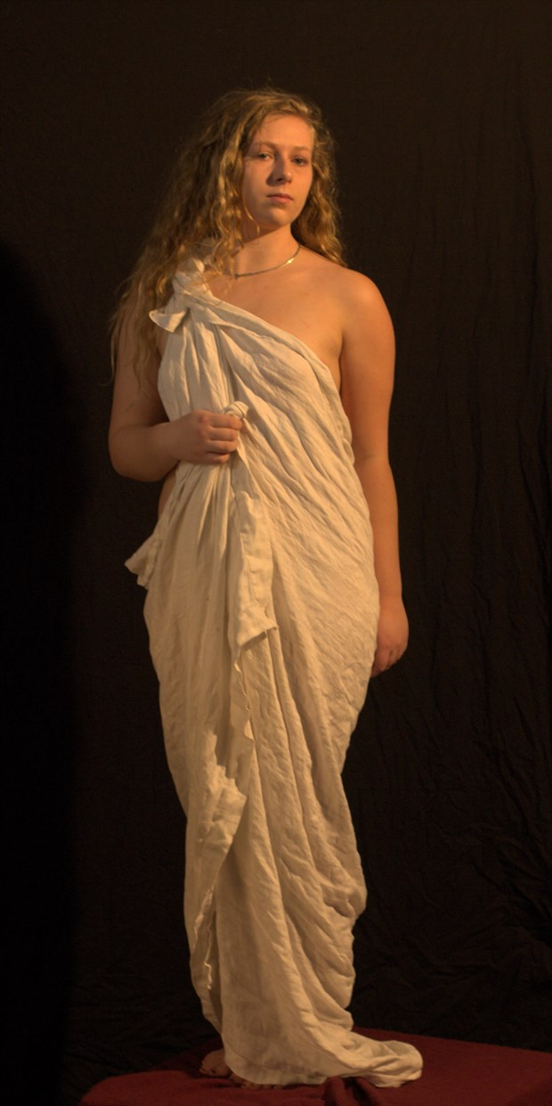 Draped Model in Classical Pose Artistic Nude Photo print by Photographer Fred Scholpp Photo