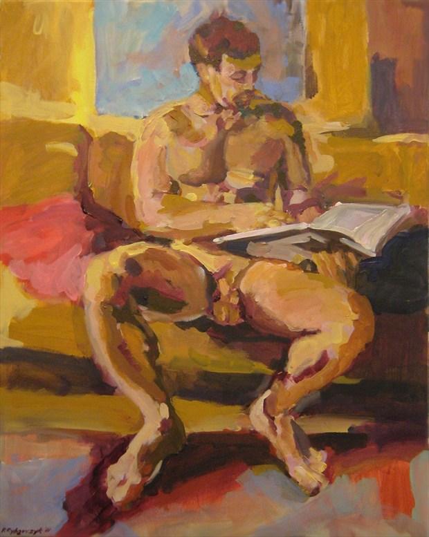 Engrossed Reader Artistic Nude Artwork print by Artist paulryb
