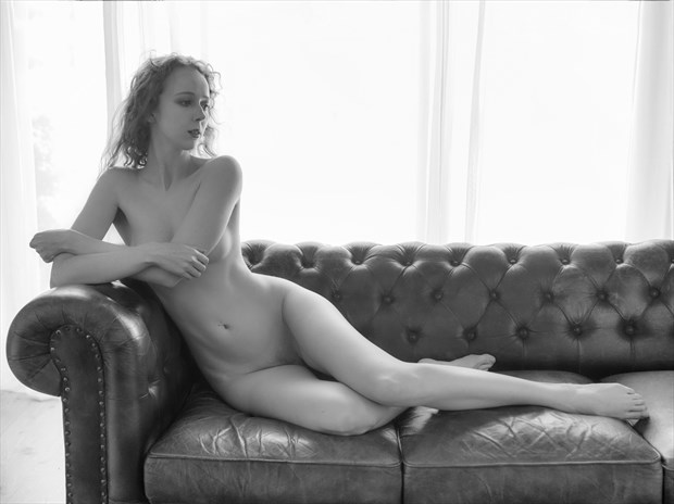 Gemma on the Couch Artistic Nude Photo print by Photographer John Logan