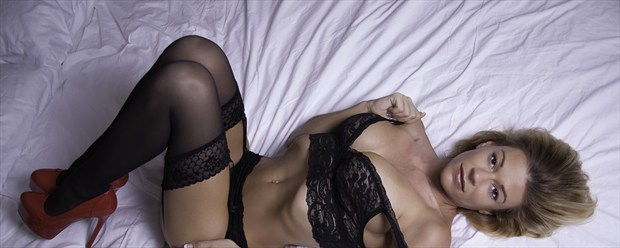 Lacey in lace Lingerie Photo print by Photographer Chris Gursky