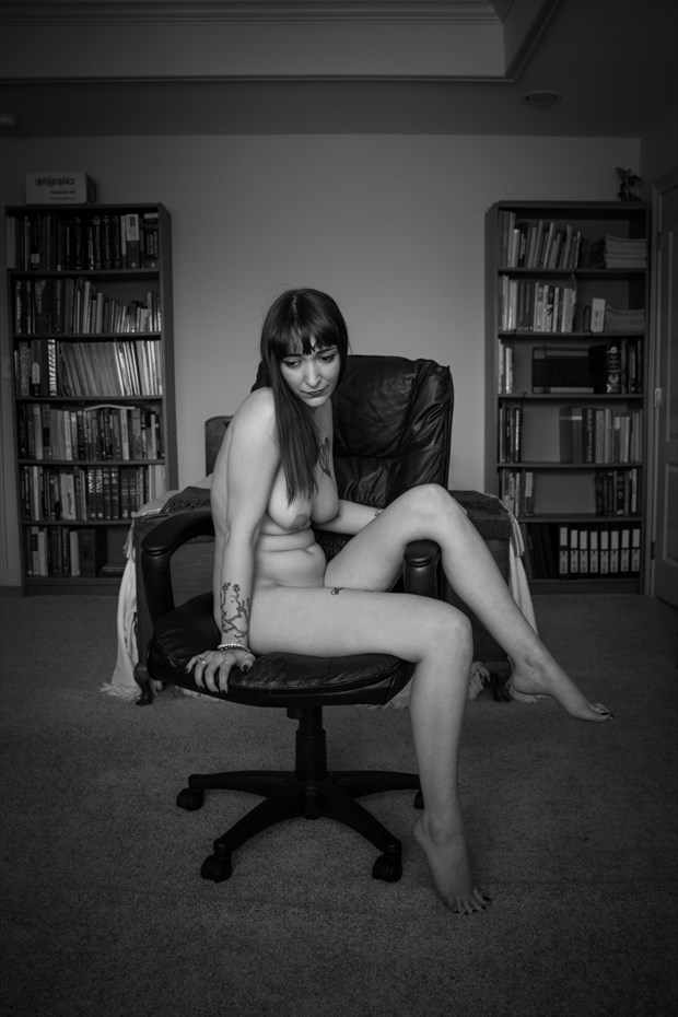 Layla Angelle sitting in a chair Artistic Nude Photo print by Photographer Frisson Art