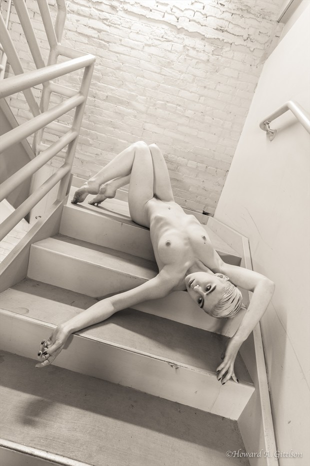Lo on the stairs Artistic Nude Photo print by Photographer HGitel