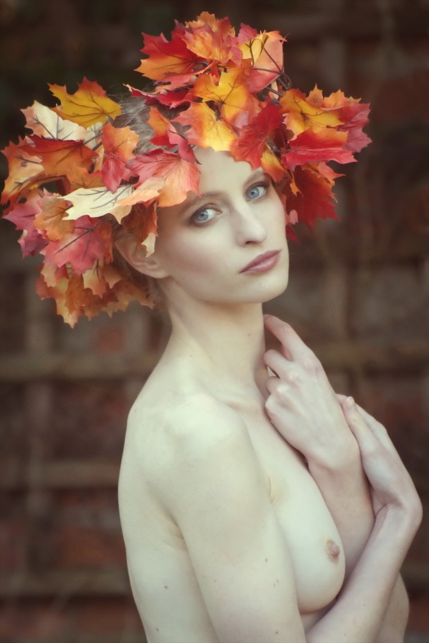 Maple Leaves Artistic Nude Photo print by Photographer Karen Jones