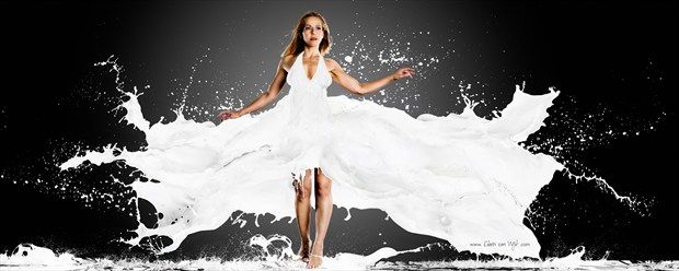 Milky Dress Fashion Artwork print by Photographer Edwin van Wijk