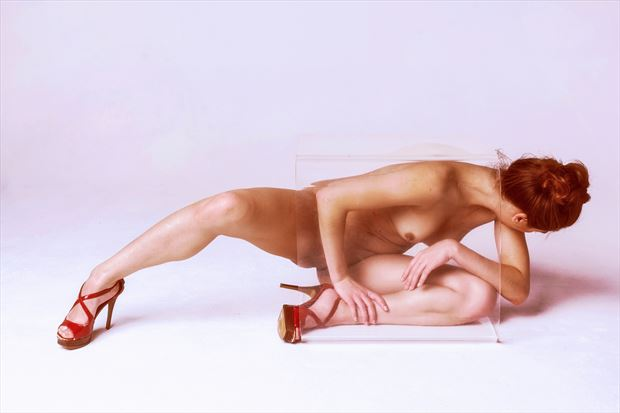 Nothing But Her Shoes (Red) Artistic Nude Photo print by Photographer Philip Turner