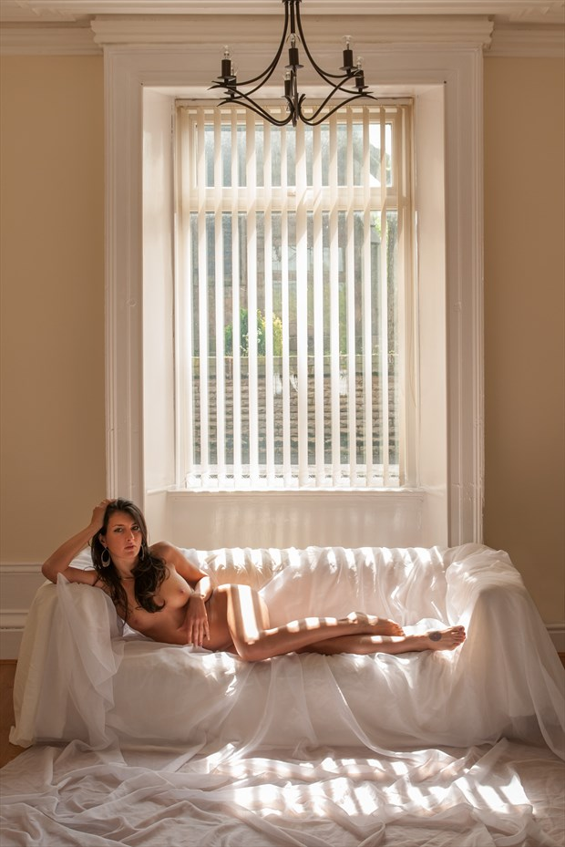 Nude Reclining in Sunlight Through Blinds Artistic Nude Photo print by Photographer Ian Cartwright