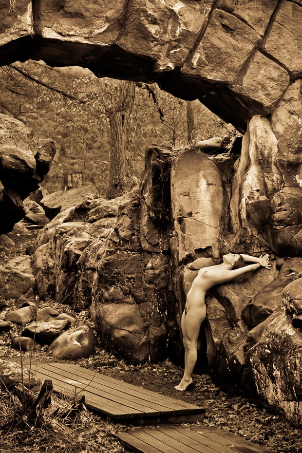 Nude Under a Stone Arch Bridge Artistic Nude Photo print by Photographer Risen Phoenix