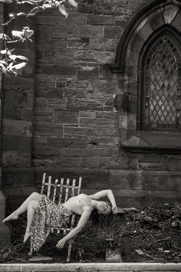 Outside a church in Brooklyn NY Artistic Nude Photo print by Photographer Risen Phoenix
