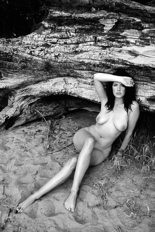 Posing againts a log Artistic Nude Photo print by Photographer Joe Klune Fine Art