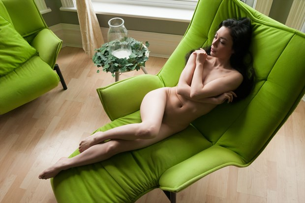 Rebecca Tun on the Green Chair Artistic Nude Photo print by Photographer Ian Cartwright