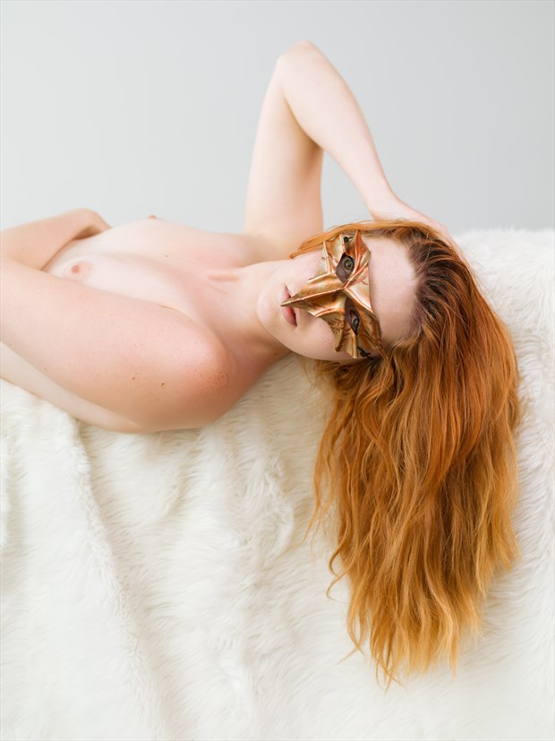 Reclining with mask Artistic Nude Photo print by Photographer Bruce M Walker