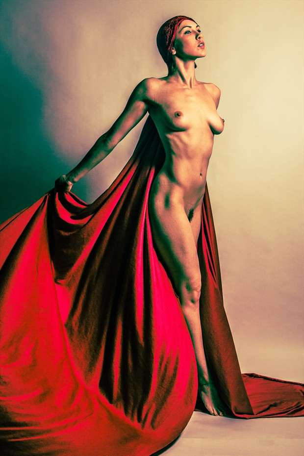 Red Cape Artistic Nude Photo print by Photographer 3 Graces Photography