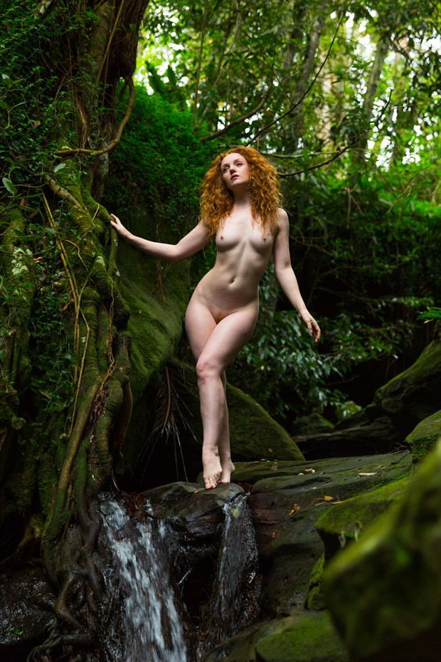 Secluded Waterfall Artistic Nude Photo print by Photographer Stephen Wong