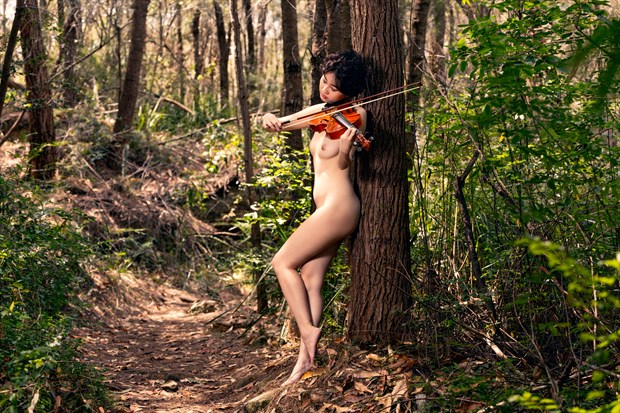 Serenade in the woods Artistic Nude Photo print by Photographer Stephen Wong