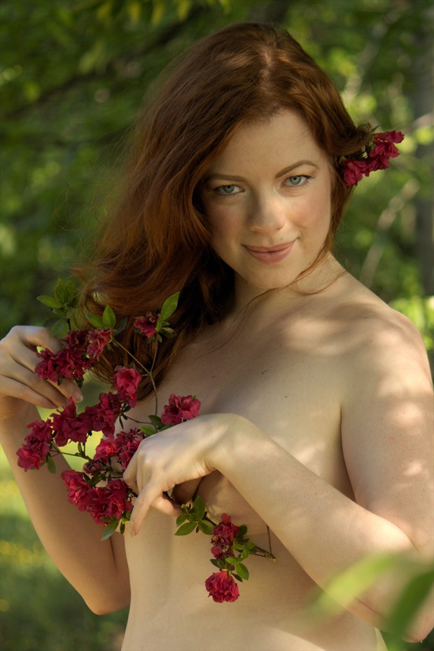 She likes Spring Flowers Artistic Nude Photo print by Photographer Fred Scholpp Photo